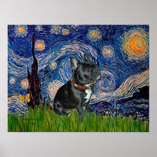 French Bulldog (black 11) - Starry Night Poster