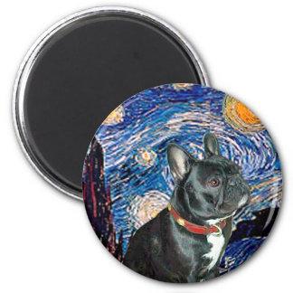 French Bulldog (black 11) - Starry Night (vert) Magnet