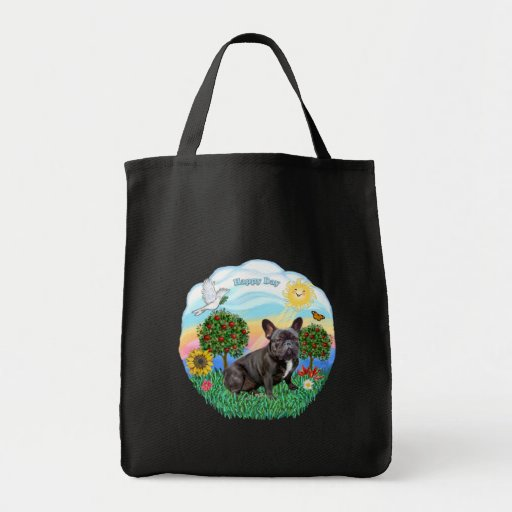 French Bulldog (black) Grocery Tote Bag