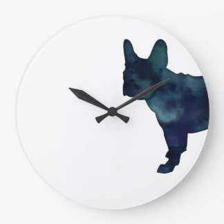 French Bulldog Black Watercolor Silhouette Large Clock