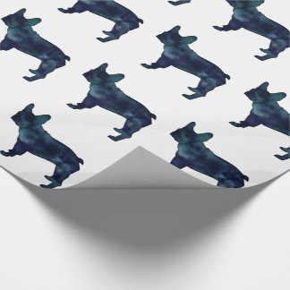 French Bulldog Black Watercolor Silhouette Wrapping Paper