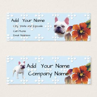 French Bulldog Blue Diamond and Autumn Flower Mini Business Card