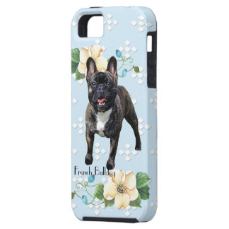 French Bulldog, Blue w/White Diamonds iPhone 5 Cover