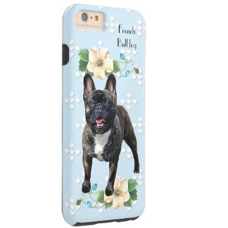 French Bulldog, Blue w/White Diamonds Tough iPhone 6 Plus Case