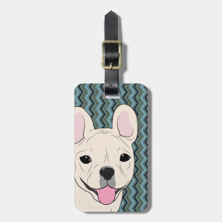 French Bulldog Chevron Blue Green Luggage Tag