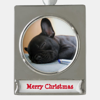 French Bulldog Christmas Ornament Silver Plated
