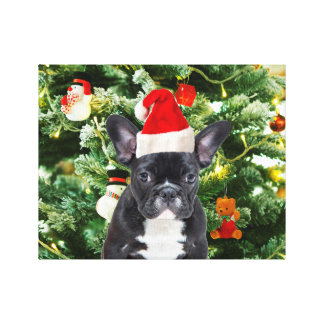 French Bulldog Christmas Tree Ornaments Snowman Gallery Wrapped Canvas