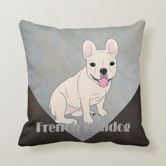 French Bulldog Coffee Brown Blue Ice Grunge Cushion