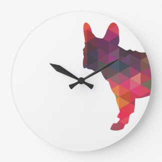 French Bulldog colorful Geometric Silhouette Large Clock