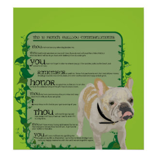 French Bulldog Commandments Poster