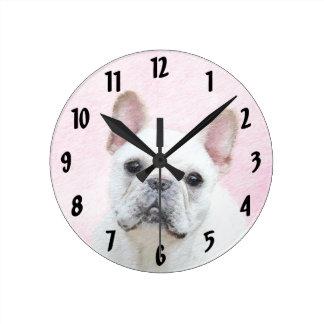 French Bulldog (Cream/White) Round Clock