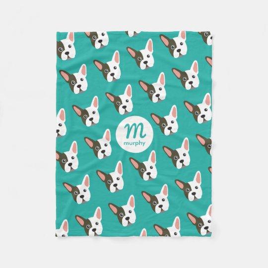 French Bulldog Cute Dog Custom Monogram Your Fleece