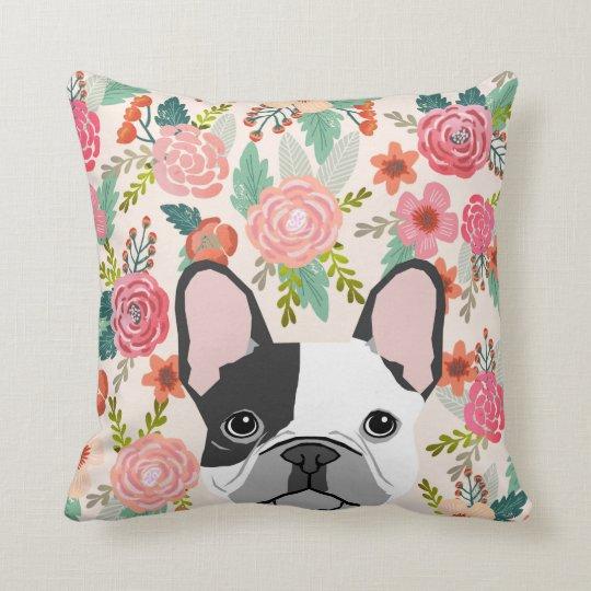 French Bulldog cute floral pillow pet portrait