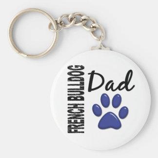 French Bulldog Dad 2 Basic Round Button Key Ring