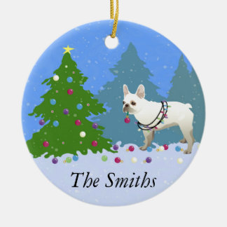 French Bulldog Decorating Tree in the Forest Christmas Ornament
