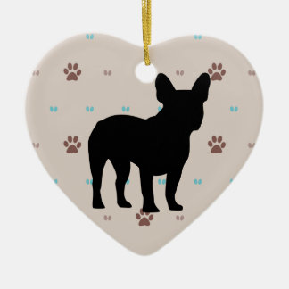 French Bulldog Double-Sided Heart Ceramic Christmas Ornament