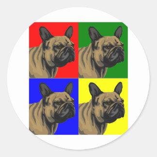 French Bulldog Does Primary Round Sticker