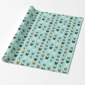 French Bulldog faces cute wrapping paper