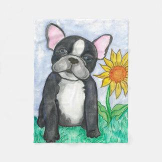 French Bulldog fleece baby blanket