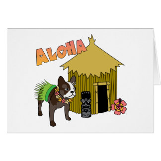 French Bulldog Hawaii Tiki Hula Cards