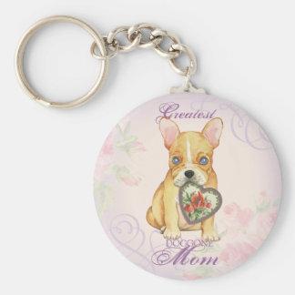 French Bulldog Heart Mom Basic Round Button Key Ring