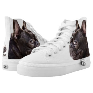 French Bulldog high top tennis shoes Printed Shoes