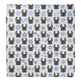 French Bulldog Holiday Bandanna - White & Blue