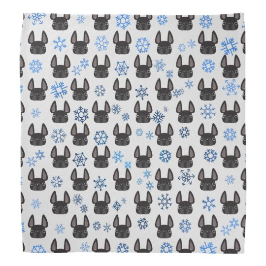 French Bulldog Holiday Bandanna - White & Blue