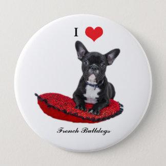 French Bulldog, I love heart, button, pin, gift 10 Cm Round Badge