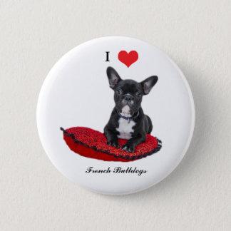 French Bulldog, I love heart, button, pin, gift 6 Cm Round Badge