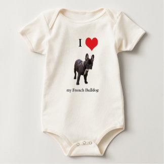 French Bulldog I love heart infant creeper, Baby Bodysuit