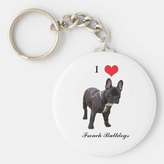 French Bulldog, I love heart, keychain, gift idea