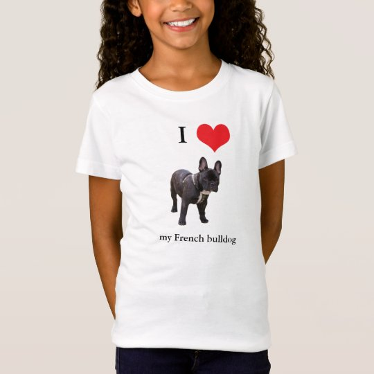 French Bulldog I love heart kids, girls t-shirt