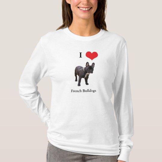 French Bulldog I love heart ladies t-shirt