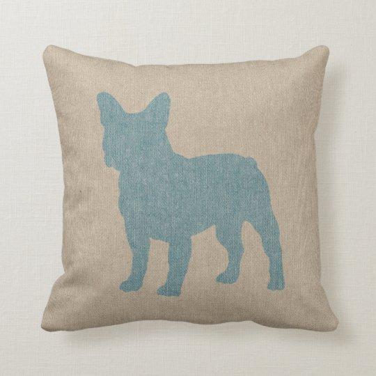 French Bulldog in Blue on Linen Look Cushion