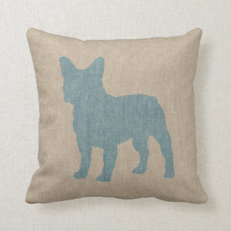 French Bulldog in Blue on Linen Look Cushion