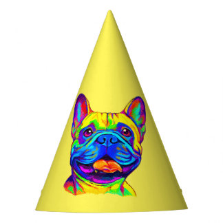 French Bulldog in Colors Birthday Party Hat