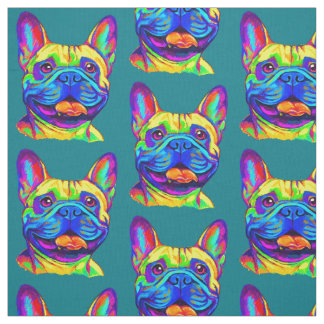 French Bulldog in Colors Fabric