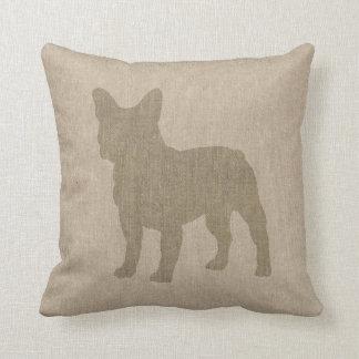 French Bulldog in Grey on Linen Look Cushion