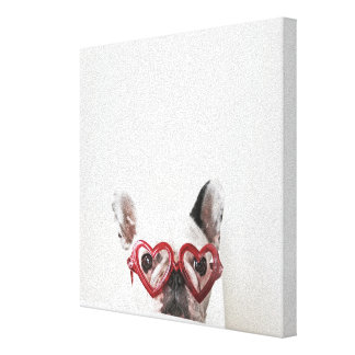 French Bulldog in Heart Glasses Canvas Print
