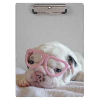 French Bulldog in Heart Glasses Clipboard