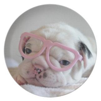 French Bulldog in Heart Glasses Plate