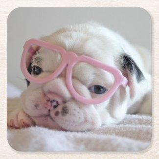 French Bulldog in Heart Glasses Square Paper Coaster
