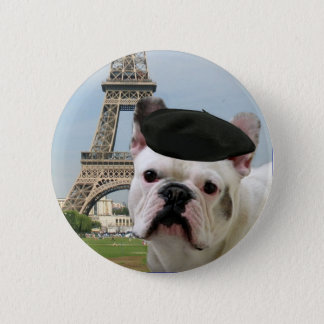 French Bulldog in Paris button