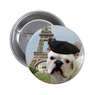 French Bulldog in Paris button