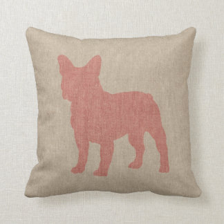 French Bulldog in Pink on Linen Look Cushion