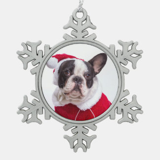 French Bulldog In Santa Costume For Christmas Snowflake Pewter Christmas Ornament