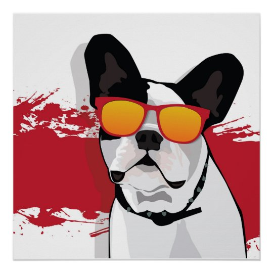 French Bulldog in Sunglasses Poster