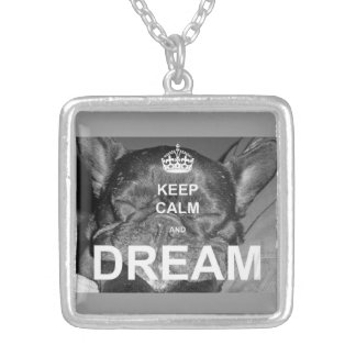 French Bulldog Keep Calm Dream Necklace