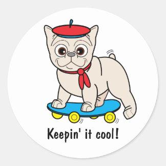French Bulldog Keepin' Cool on Skateboard Classic Round Sticker